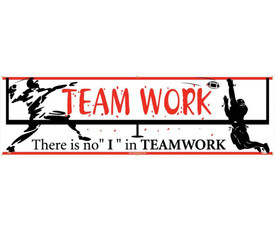 """There Is No I In Teamwork 5 Ft Banner  - Aris Industrial White Team Work rectangular banner with the words """"TEAM WORK THERE IS NO """"I"""" IN TEAMWORK"""" In black and red text and has a graphic of a person jumping on each end of the banner."""