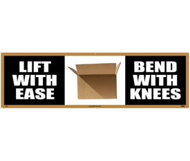 """Lift With Ease Bend With Knees 5 Ft Safety Banner - Aris Industrial Black rectangular banner with the words """"LIFT WITH EASE BEND WITH KNEES and a box at the center"""" In white text"""