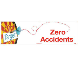 """Target Zero Accidents 5 Ft And 10 Ft Safety Banners - Aris Industrial White rectangular safety banner with the words """"ZERO ACCIDENTS"""" in red text with a graphic of a dart board on left side of banner."""
