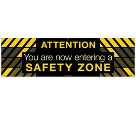 """Attention You Are Now Entering A Safety Zone 5 Ft Banner - Aris Industrial Yellow /Black rectangular Safety banner with the words """"ATTENTION YOU ARE ENTERING A SAFETY ZONE"""" In yellow text. Black rectangular background behind YOU ARE NOW ENTERING A SAFETY ZONE text."""