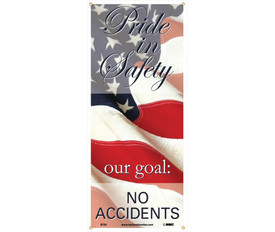 """Pride In Safety Our Goal No Accidents 5 Ft Banner - Aris Industrial Safety long hanging rectangle banner with the words """"PRIDE IN SAFETY OUR GOAL:NO ACCIDENTS"""" In black and white text set on an American Flag background."""