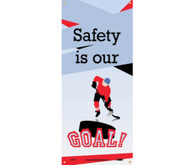 """Safety Is Our Goal 5 Ft Banner - Aris Industrial Safety vertical hanging rectangular banner with the words """"SAFETY IS OUR GOAL"""" In black and red text and a graphic of a hockey player skating towards a puck and the work """"Goal"""" over the puck."""