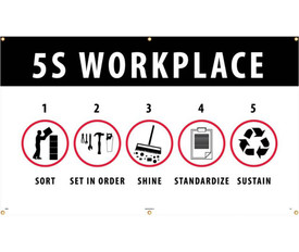 """Workplace 5S Lean Method 5 Ft or 10 Ft Banner - Aris Industrial White banner with the words """"5S WORKPLACE"""" and 5 graphics in a circle and numbered 1 to 5 and labeled beneath each graphic """"SORT"""" """"SET IN ORDER"""" """"SHINE"""" """"STANDARDIZE"""" """"SUSTAIN"""" In black text."""