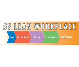5S Lean Workplace 5 Ft And 10 Ft Banners - Aris Industrial 5S LEAN WORKPLACE SORT SET IN ORDER SHINE STANDARDIZE SUSTAIN BANNER on orange background.