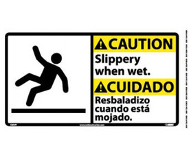 """Caution Slippery When Wet Bilingual Graphic Sign - Aris Industrial White square sign in English and Spanish with the word """"CAUTION SLIPPERY WHEN WET"""" In black text and yellow caution background and has a graphic of a man falling backwards."""