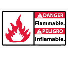 """Bilingual Danger Flammable 18x10 Vinyl Sign - Aris Industrial White rectangular English and Spanish sign with the words """"DANGER NO SMOKING"""" IN BLACK AND WHITE TEXT.RED BACKGROUND BEHIND DANGER and graphic of red and white flame on left side of sign."""