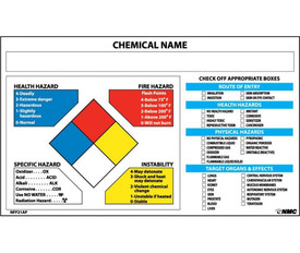 NFPA Target Organ Chemical System Label - Aris Industrial white Right To Know Label Target Organ Label associated with chemical name listing. Left hand side of sheet has multi color diamond in red, blue, white and yellow and the list of hazards associated with each quadrant.