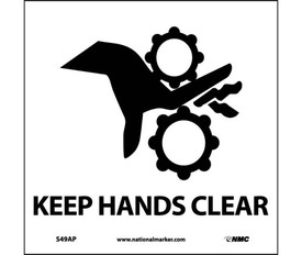 """Keep Hands Clear Graphic Label - Aris Industrial White square rectangular label with the words """"KEEEP HANDS CLEAR"""" in black text beneath graphic of a jammed equipment."""