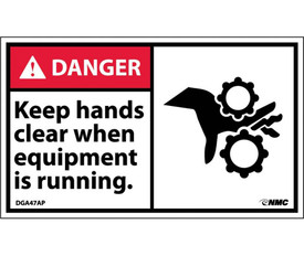 """Keep Hands Clear When Equipment Is Running Danger Label - Aris Industrial White rectangular label with the words """"DANGER KEEP HANDS CLEAR WHEN EQUIPMENT IS RUNNING"""" In black text. Danger header on red background in top left and graphic of pinch points on right side of label."""