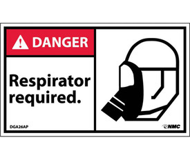 "Respirator Required Graphic 3x5 Danger Label - Aris Industrial White rectangular label with the words ""DANGER RESPIRATOR REQUIRED"" In black text. Danger header on red background in top left and graphic of person wearing respirator on right side of label."