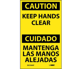 """Keep Hands Clear Bilingual Caution 5x3 Label - Aris Industrial Yellow English and Spanish Caution label with the words """"CAUTION KEEP HANDS CLEAR"""" in Black text.  Caution header in yellow text on black background."""