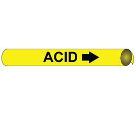 Acid Pipe Marker Precoiled And Strap On Yellow on Black