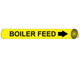Boiler Feed Pipe Marker Precoiled Black On Yellow - Boiler Feed Pipe Marker Precoiled Black text on Yellow