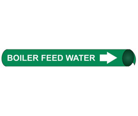 Boiler Feed Water Pipe Marker Precoiled And Strap On - Boiler Feed Water Pipe Marker Precoiled & Strap on White text on Green