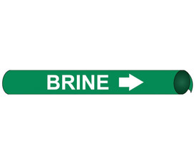 Brine Pipe Marker Precoiled And Strap On White On Green - Brine Pipe Marker Precoiled & Strap on White text on Green