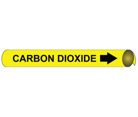 Carbon Dioxide Pipe Marker Precoiled Black On Yellow - Carbon Dioxide Pipe Marker Precoiled Black text on Yellow