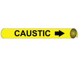 Caustic Pipe Marker Precoiled Black On Yellow