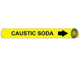 Caustic Soda Pipe Marker Precoiled Black On Yellow