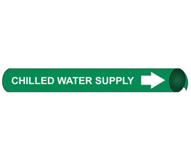 Chilled Water Supply Precoiled Pipe Marker White On Green