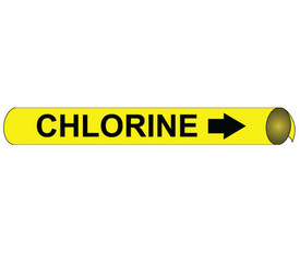 Chlorine Precoiled  And Strap On Pipe Marker Black On Yellow - Chlorine Pipe Marker Precoiled & Strap on Black text on Yellow