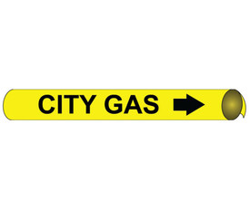 City Gas Precoiled And Strap On Pipe Marker Black On Yellow