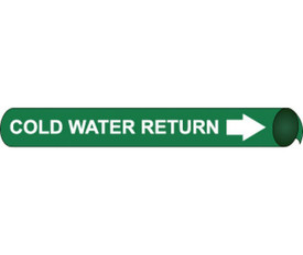 Cold Water Return Precoiled Pipe Marker White On Green