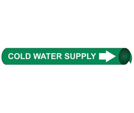 Cold Water Supply Pipe Marker Precoiled White On Green - Cold Water Supply Pipe Marker Precoiled White text on Green