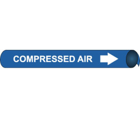 Compressed Air Precoiled & Strap On Pipe Marker White Blue