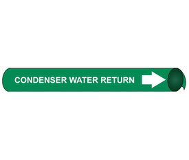 Condenser Water Return Pipe Marker Precoiled - Condenser Water Return Pipe Marker Precoiled, White text on Green