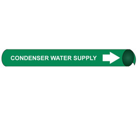 Condenser Water Supply Pipe Marker Precoiled White On Green