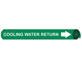 Cooling Water Return Pipe Marker Precoiled White On Green - Cooling Water Return Pipe Marker Precoiled, White text on Green