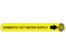 Domestic Hot Water Supply Precoiled Pipe marker Black Yellow - Precoiled Pipe Marker Domestic Hot Water Supply, Black text on Yellow