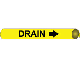 Drain Precoiled And Strap On Pipe marker Black On Yellow - Precoiled & Strap on Pipe Marker Drain Multi Sizes, Black text on Yellow