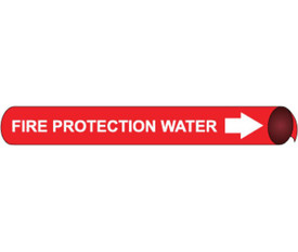 Fire Water Protection Strap On Pipe marker White On Red