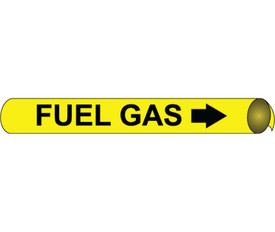 Fuel Gas Precoiled Pipe marker Black On Yellow - Fuel Gas Pipe Marker Multi Sizes, Black text on Yellow