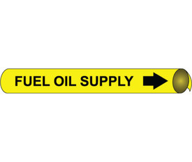 Fuel Oil Supply Precoiled Pipe marker Black On Yellow - Fuel Oil Supply Pipe Marker Multi Sizes, Black text on Yellow