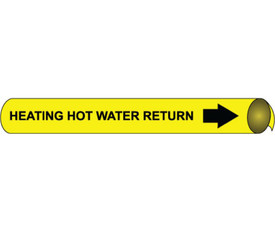 Heating Hot Water Return Precoiled & Strap On Pipe markers Multi Sizes - Heating Hot Water Return Pipe Marker Multi Sizes, Black text on Yellow