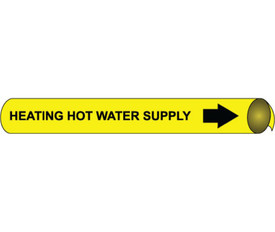 Heating Hot Water Supply Strap On Pipe marker Black On Yellow