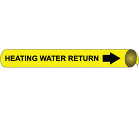 Heating Water Return Precoiled Pipe marker Black On Yellow