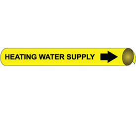 Heating Water Supply Black On Yellow Precoiled Pipe marker