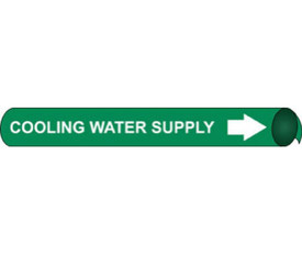 Cooling Water Supply White On Green Pipe marker - Precoiled Pipe Marker Cooling Water Supply, White text on Green