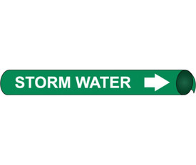 Cooling Storm Water White On Green Pipe marker - Precoiled Pipe Marker Cooling Storm Water, White text on Green
