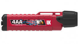 UK Chemical Resistant 4AAeLED Herculite Flashlight - Red flashlight with black ends, extra grip and clips. Label says 4AA and has eagle logo.