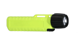 UK 4AA eLED CPO Waterproof Front Switch Flashlight Class 1 - Black and yellow high visibility flashlight with long ribbed handle.
