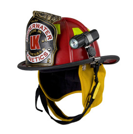 UK Adjustable Stainless Steel Helmet Light Clip 4AA & 3AA - Red and yellow solid firefighter helmet with attached flashlight, chin strap, peripheral padding, and emblem.