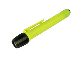 UK 2AAA eLED Penlight I Bright Flashlight Class 1 - plastic black and yellow flashlight with extra long ribbed handle and belt clip.