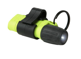UK 2AAA eLED Mini Pocket Light I Flashlight 1.3 oz Class 1 - plastic black and yellow flashlight with pocket holder and O-ring - mini sized and powered on- facing right.