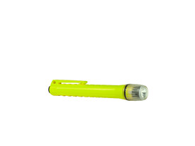 UK 2AAA Xenon Pen Light S - Waterproof Light Class 1 - plastic yellow and clear flashlight with belt clip - ribbed - facing right.