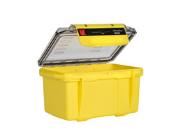 UK 406 UltraBox Case Protector - Small bright yellow dry box with clear top and yellow plastic clip.