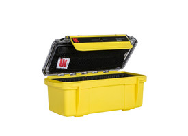 UK 307 UltraBox Case Protector - Bright yellow dry box with clear top, zippered pouch, and long black clip.